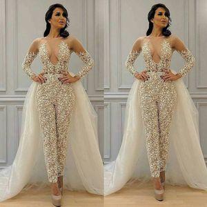 Modest Detachable Skirt Jumpsuit Wedding Dresses 2020 Lace Applique Long Sleeve Elegant Pant Suit for Women Vestidos Bridal Gowns