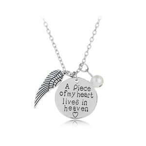 Angel Wings Halsketten Frauen Nachahmung Perlen Charms Halskette ein Stück meines Herzens lebt im Himmel Das beste Geschenk für die Tochter