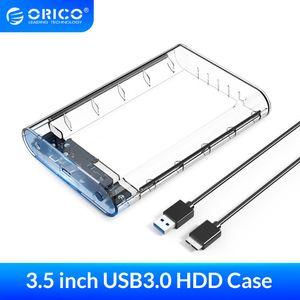 Equipo de oficina ORICO 3,5 pulgadas Transparente USB HDD SATA 3.0 Herramienta Caso unidad de disco duro libre en disco duro externo caja de soporte UASP