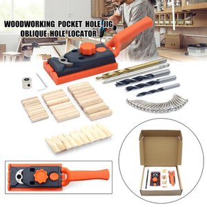 Woodworking Oblique Hole Locator Drill Bits Pocket Hole Jig Kit 6 8 10MM Angle Drill Guide Set Puncher DIY Carpentry Tools