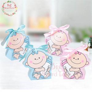 Sacs Emballage cadeau Fournitures 24pcs / set Girl And Paper Boy Party boîte-cadeau baby shower Bonbonnière bébé au biberon anniversaire