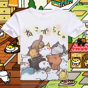 New Game Neko Atsume Cartoon Cat Cotton T shirt Short Sleeve O-Neck T-shirt for Women Student Summer Clothes Top Tees S-4XL