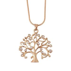 Árbol de la vida colgante collar de la mujer elegante joyería Declaración de cristal regalos de Navidad colgantes de los collares collar de cadena larga Bijoux de oro rosa