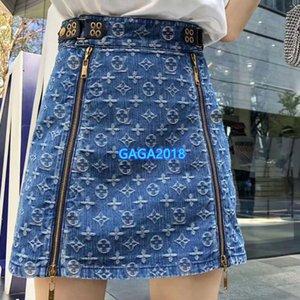 High-End-Frauen Mädchen Mini-Denim-Rock-Jacquard ganzes Monogramm Brief Motiv zip a-Linie 2020 Sommer Mode-Design-Luxus sexy Kleid Rock