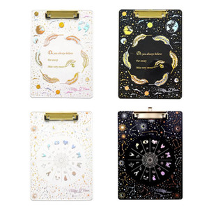 Creative Starry Sky A4 Clipboard Acrylic File Fold Writing Pad Document Holder School Office Supplies Stationery