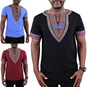 Panelli Tees Casual V Boyun Gevşek Mens Tees Mens Afrika Tarzı Tshirt Moda Tasarımcısı