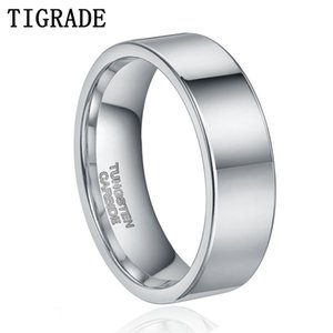 TIGRADE 6mm Men Tungsten Ring Silver Color Male Wedding Band Tungsten Carbide Ring Engagement Wedding Rings Anel Drop shipping