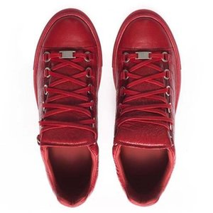 Designer Luxury Man Casual Shoes Brand Wrinkled Red Black White Leather Outdoors High Top Trainers Male Shoes Sneakers f76