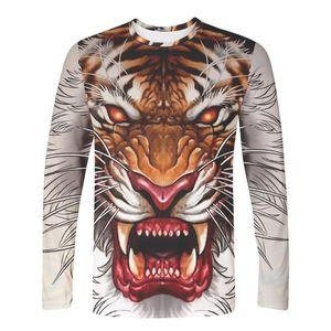 WAMNI 3D с длинным рукавом T-Shirt животных Изображение льва и тигра Hip Hop Harajuku Новизна Street Одежда вскользь Wild Top