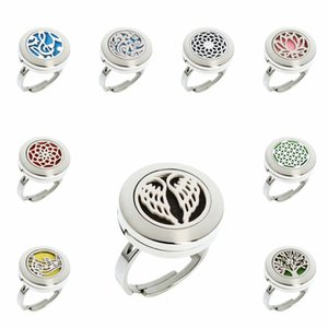 Angel wing tree of life cloud 20mm 316L Stainless Steel Diffuser Ring Essential Oil Aromatherapy Perfume Rings Jewelry Women With 10pcs pads
