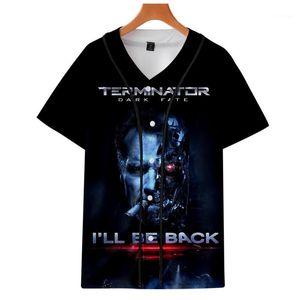 T-SHIRT Sommer 3d Baseball Tees Kurzarm Schule Tops Terminator Dark Fate T-Shirts Herren Designer