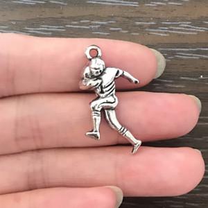 Venden al por mayor del futbolista encanto antiguo del tono de plata encanto de la aleación colgante de los pendientes de la pulsera del collar cremallera tirones marcador