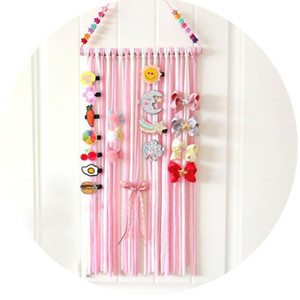 Fashion Striped Ribbons Hanger Hair Bows Holder Hair Bow Clips Storage Belt Girls Hairpins Barrette Holder for Accessories