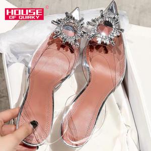 Été Femmes Pompes Sexy Strass Transparent Pointu Chaussures À Talons Hauts Femme Casual Chaussures Dames Stiletto Parti Chaussures De Mariage