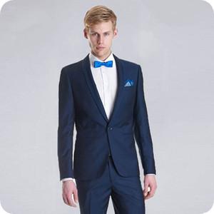 Marine-Blau-Bräutigam Smoking Einfache Breasted Slim Fit Männer Anzüge für Hochzeit Anzüge Mann Blazers Kostüm Homme 2Piece (Coat Pants) Terno Masculino