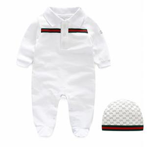 INS bebek çocuk giyim romper% 100% pamuk bahar güz yuvarlak yaka uzun kollu katı renk stil romper + şapka