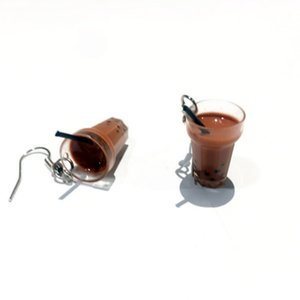 Novo Pearl Milk Tea Fruit Criativo Personalidade Brincos Japonês Fun Ear Hook Brincos Pequenos For Women Feminino