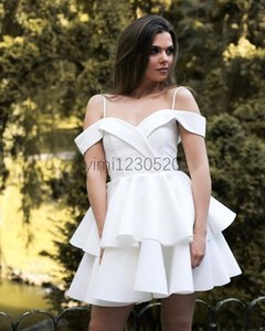 White Short Homecoming Dresses Spaghetti Tiered Appliques Mini Girls Formal Prom Party Gowns Cocktail Dress Plus Size