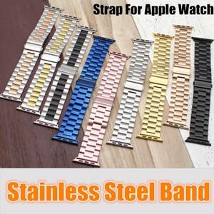 Watchbands en acier inoxydable poignet Apple Montre Homme Montre Bracelet Bracelet bande Accessoires Sport 38mm 42mm avec adaptateur connecteur