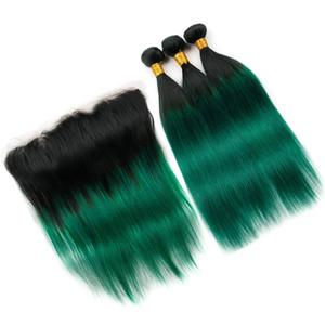 Frontal Kapatma # 1B / Yeşil Ombre 13x4 Dantel Frontal ile düz Paketler ile Virgin Perulu İnsan Saç Koyu Yeşil Ombre Dokuma Paketler 3PCS