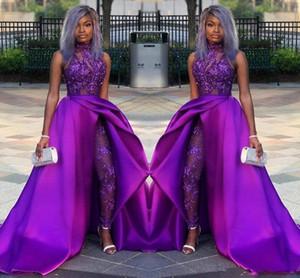 Purple Dentelle Tache De Soirée Combinaison Avec Train 2019 Col Haut Africain Plus La Taille Classique Occasion Prom Pant Costume Robe Porter