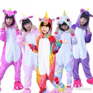 Flanella Unicorn Bambini Arcobaleno Unicorn tutina costume Cartooon cappuccio Robes animale pigiama pigiama tuta cosplay MC2035 costume