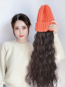 Hat connection wig women Long hair curly hair hat with wig yellow lady fashion cap holder
