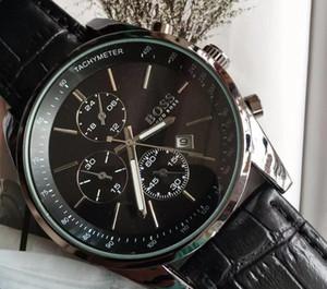 relógio marca de luxo dos homens quentes relógio de quartzo esportes de couro casual assistir BOSS barato sino masculino e bonita zona de tempo de marcação decorativo faz