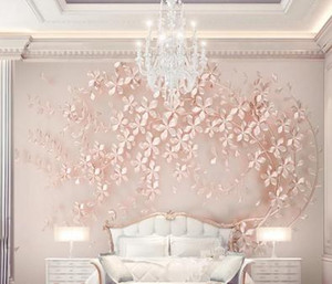 Customized large mural luxury elegance 3d stereoscopic flower rose gold 3D wallpaper for living room TV backdrop wall paper