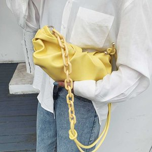 PU Leather Solid Color Cloud Bags for Women 2020 Thick Chain Shoulder Messenger Handbags Summer New Luxury Cross Body Bag #50