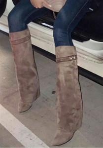 Klassische Suede Womens Long Boots Silber Shark Sperre Kniehohe Stiefel Größe Spitzschuh Pumpen Motorrad Booties Schuhe mit hohen Absätzen A506