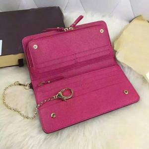 Incredibile qualità all'ingrosso Designer Classic Brown Grid White Card Case Plus pelle bovina genuino doppio Zippy apertura portafoglio a catena da donna