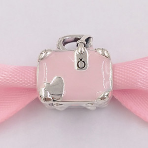 Authentic 925 Sterling Silver Beads Pink Travel Bag Charm Charms Fits European Pandora Style Jewelry Bracelets & Necklace 798063EN124