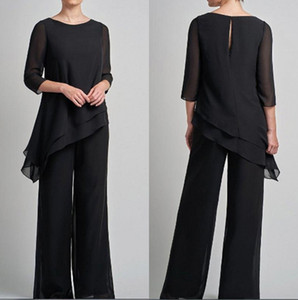 Black Chiffon Mother Of Bride Pant Suits 2020 Irreguar 3 4 Long Sleeves Mother's Groom Dress Wedding Guest Formal Gowns BC3085