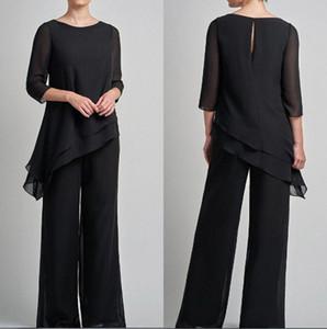 Vestido preto do noivo Chiffon Mãe de noiva Suits Pant 2020 Irreguar 3/4 mangas compridas da Mãe de convidados do casamento formal Vestidos BC3085