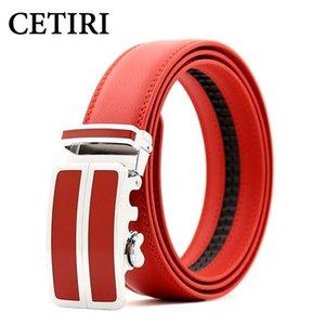 CETIRI حزام الرجال أعلى جودة أحزمة جلد طبيعي للرجال، الشريط ذكر المعدنية التلقائي إبزيم أحمر أزرق أسود
