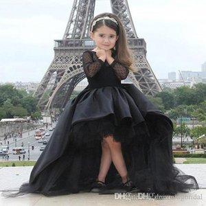 Preto Alta Baixa Flor Menina Vestidos 2017 Nova Sem Mangas Longo Tull Bow Em Camadas Ruffle Aniversário Menina Vestido De Baile Comunhão Pageant Vestidos