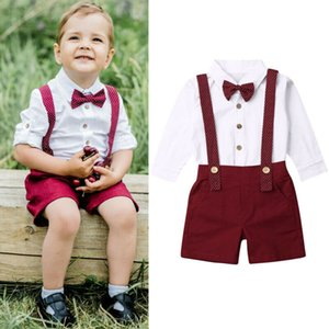 Emmababy 2PCS Toddler Baby boy gentleman Outfits shirt tops+ straps pants Clothes