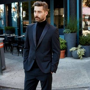 2020 latest coat pant designs navy blue men suits smart casual suits for wedding stage handsome groom tuxedo male terno 2 pieces