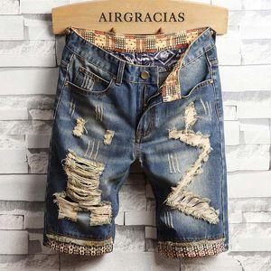 Januarysnow Designer Mens strappato brevi jeans di marca Abbigliamento Bermuda pantaloncini in cotone traspirante Denim Shorts maschile Nuovo formato di modo 28-40