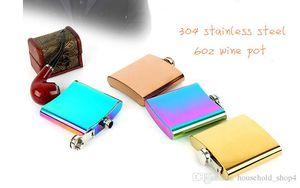 6 Unzen Edelstahl Flachmann Tragbare Krug Mini Weingläser Tumbler Vergoldete Gradient Colored 4 Styles im Freien Taschen Valentines Geschenk