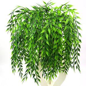 인공 포도 나무 녹지 화환 실크 버드 나무 등나무 위커 나뭇 가지 가짜 정원 웨딩 축제 창틀 발코니 장식 지원 도매