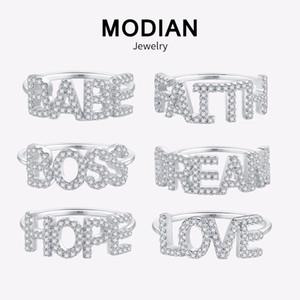 Modian Heißer Verkauf 100% Echt 925 Sterling Silber Charme Liebesbrief Fingerring Elegante Ins Mode Ring Für Frauen Silber Schmuck