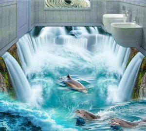 Free shipping 3D Custom Wall Sticker dophins in huge waterall flooring Painting Photo Wallpaper for Walls home decor mural post T200601