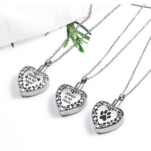 Popular Titanium Steel Heart Pendant Necklace for Ashes Memorial Cremation Jewelry with Paw Print for Pet Dog Cat Ashes