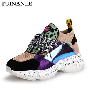 TUINANLE 2020 Chaussures de sport Mode Femmes 35-42 Chaussures à lacets sur la plate-forme Sneakers Crin Chaussures Casual respirante douce Femme Chunky Chaussures MX200425