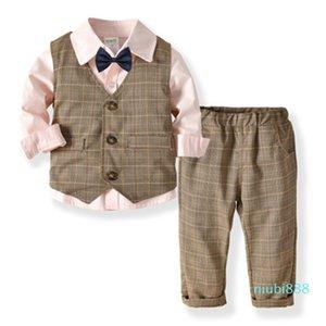 Letter Luxury Autumn Boy Suits High Quality Bowknot Children's Cotton Sets Hot Sale Warm Boy Clothing Sets Zc77