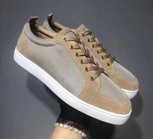 Designer Chaussures de sport rouge en bas Spikes plat Velours Suede Sneakers hommes gris fer formateurs 100% réel chaussures en cuir Parti mn1896 L30