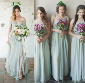 Country Boho Style Chiffon Damigella d'onore Abiti A Line Pleats Long Wedding Guest Party Sera Prom Gowns a buon mercato