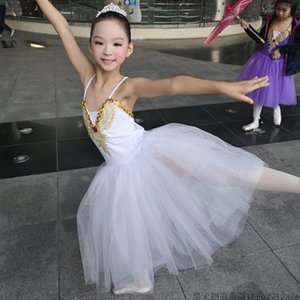 New Classical Profi White Swan See-Ballett-Kostüm Romantic Ballet Tutu-Kleid-Performance-Mädchen Lange Tutu Outfit